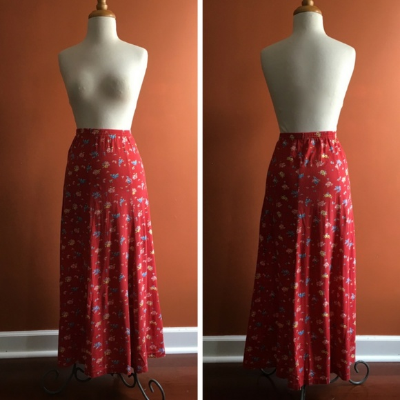 0ba5124ed6 Laura Ashley Dresses & Skirts - LAURA ASHLEY Vintage Red Floral Maxi Skirt S